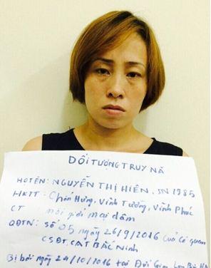 Đối tượng truy nã Nguyễn Thị Hiên khi bị bắt giữ