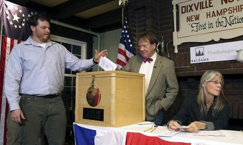 Clay Smith ở Dixville Notch là cử tri Mỹ đầu tiên đi bỏ phiếu. Ảnh: APP.