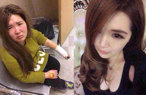 Cô gái bị đánh vì mặt mộc khác xa trên mạng. Ảnh: Sohu.