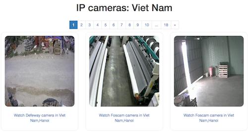 Hình ảnh từ một số camera giám sát ở Việt Nam được chia sẻ công khai trên Internet.