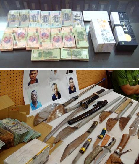 Tang vật của vụ giết người trên phố Nguyễn Thị Định.