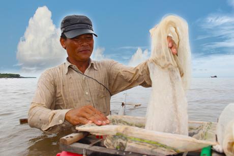 Trút ruốc vừa đẩy được vào thùng chứa - Đẩy ruốc là một công việc đầy nặng nhọc do phải trầm mình dưới biển hàng giờ đồng hồ