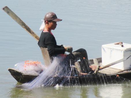 Con trai ông Hai Phê thả lưới đánh bắt cá trong đùng. Ảnh: Đoàn Phú