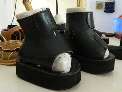 Một đôi giày có hình thù kì dị.