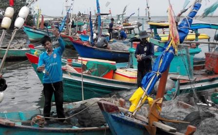 Các tàu cá đánh bắt nhỏ thường vào sông Dương Đông để bán các loại hải sản đánh bắt được