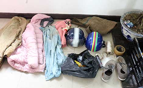 Tang vật các đối tượng thực hiện dàn dựng vụ bắt cóc chị Trần Minh Bảo T.