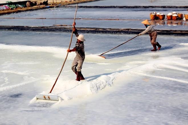 Ruộng muối trên đảo của người dân trên đảo Thiềng Liềng: Ảnh: Nguyễn Việt Khoa.