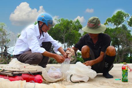 Khách đi đường mua những con ruốc tươi sống vừa mới được bắt lên - Ruốc có thể chấy ăn với bánh tráng, rau sống hay dùng để làm mắm ruốc, nước mắm.