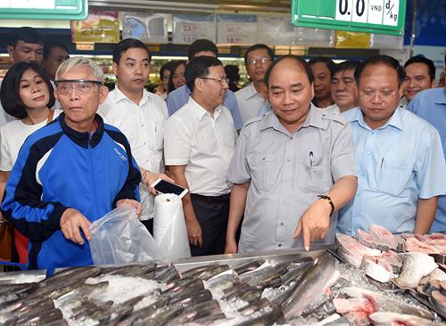 Thủ tướng thăm quầy hải sản đông lạnh siêu thị Co.opmart. Ảnh: VGP/Quang Hiếu