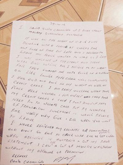 Đơn khiếu nại và giấy tờ liên quan ông Caracciolo David John gửi cơ quan điều tra
