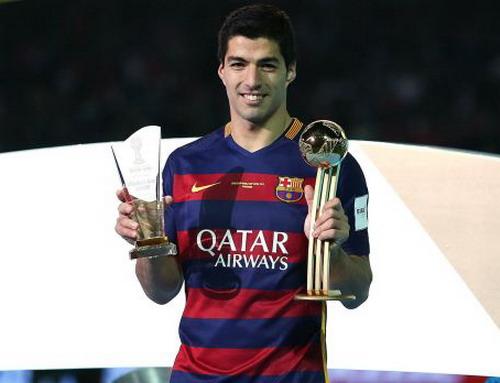 Suarez nhận Quả bóng vàng World Cup các CLB 2015