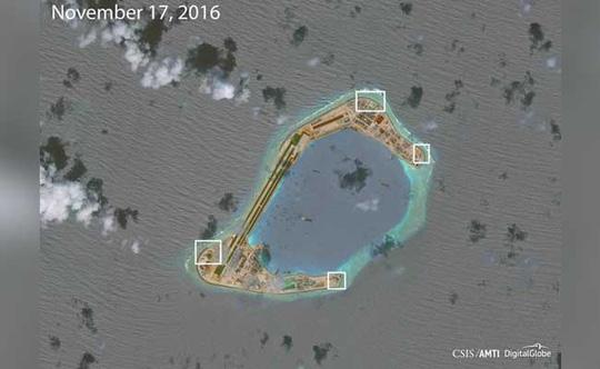 Ảnh chụp đá Subi từ vệ tinh được AMTI phân tích gần đây - Ảnh: AMTI