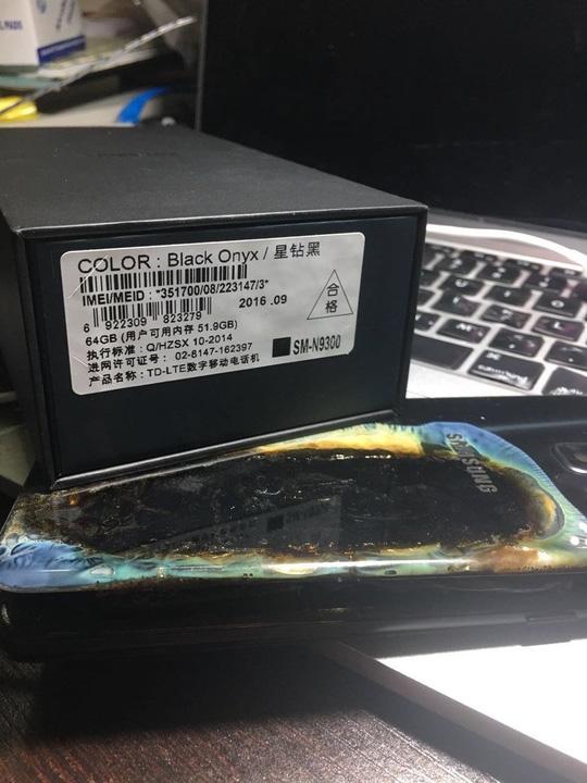 Một chiếc Note 7 bị sự cố pin. Ảnh: CNN