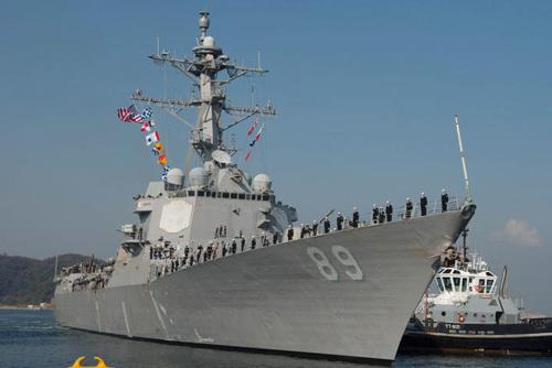 Tàu khu trục mang tên lửa dẫn đường USS Mustin (DDG 89) lớp Arleigh Burke Ảnh: INTERNET