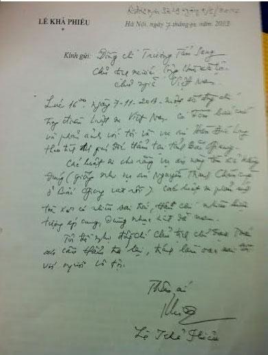 Lá thư tay của nguyên Tổng Bí thư Lê Khả Phiêu