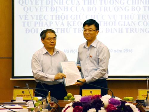 Bộ trưởng Bộ Tư pháp Lê Thành Long (phải) trao quyết định thôi chức vụ Thứ trưởng cho ông Đinh Trung Tụng - Ảnh: Cổng TTĐT Bộ Tư pháp