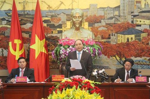 Thủ tướng Nguyễn Xuân Phúc làm việc với lãnh đạo TP Hải Phòng