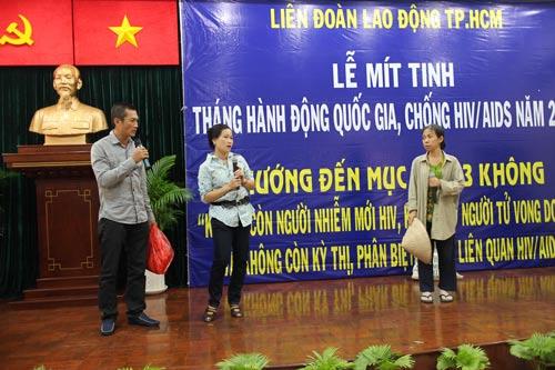 Một chương trình truyền thống phòng chống HIV/AIDS do Trung tâm Công tác Xã hội Công đoàn TP HCM tổ chức