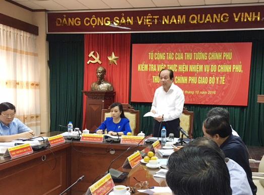 Đoàn Công tác của Chính phủ, Thủ tướng Chính phủ làm việc tại Bộ Y tế sáng 18-10