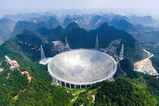 Kính viễn vọng vô tuyến khổng lồ của Trung Quốc mới vận hành hôm 25-9 Ảnh: AP