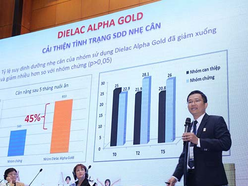Bác sĩ Mai Thanh Việt, Giám đốc marketing ngành hàng sữa bột Vinamilk, phát biểu tại hội thảo