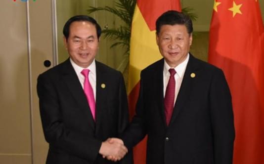 Chủ tịch nước Trần Đại Quang hội đàm Chủ tịch Trung Quốc - Ảnh: VOV