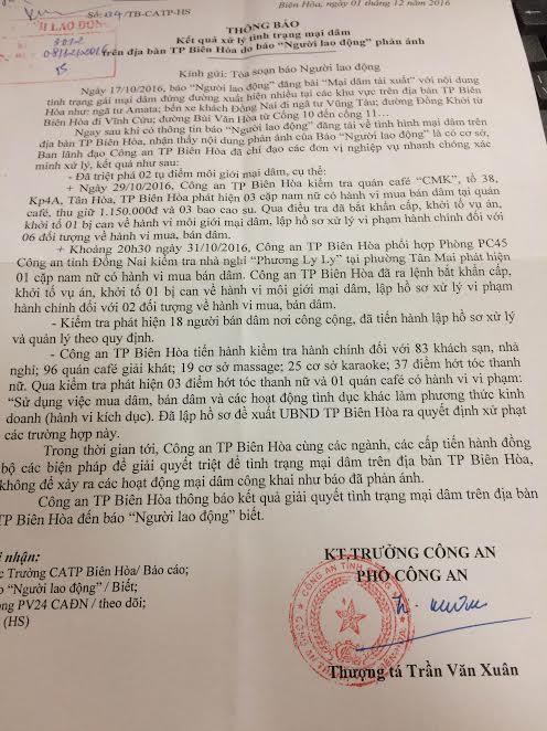 Văn bản Công an TP Biên Hòa gửi Báo Người Lao Động