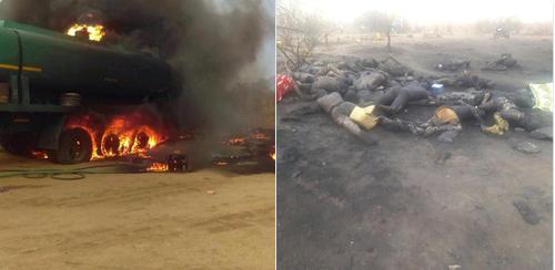 Ít nhất 73 người thiệt mạng và hơn 110 người bị thương sau khi chiếc xe chở nhiên liệu phát nổ. Ảnh: RT
