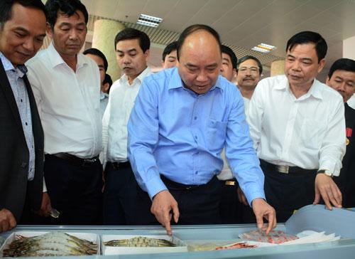 Thủ tướng Nguyễn Xuân Phúc tham quan xưởng chế biến tôm xuất khẩu của Công ty Minh Phú tại Cà Mau
