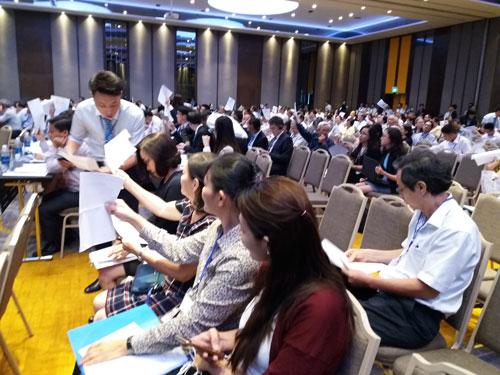 Đại hội cổ đông Eximbank quyết định không chia cổ tức năm 2016 Ảnh: Thy Thơ