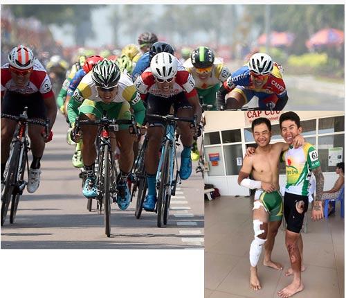 Thanh Tâm (64) và Mai Nguyễn Hưng (3) cạnh tranh gay gắt trên đường đuaẢnh nhỏ: Nguyệt Minh (trái) và Ngọc Sơn sau tai nạn ở đích đến tại chặng Nha Trang - Phan Rang Cúp Truyền hình TP HCM 2017