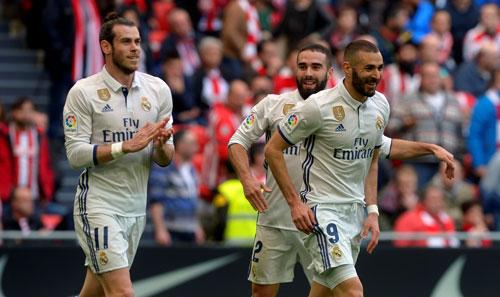 Phong độ của 3 tiền đạo Real Madrid đang chững lại ở mùa này, đặc biệt là G.Bale (trái), người hiện trung bình cần 256 phút mới có 1 bàn Ảnh: REUTERS