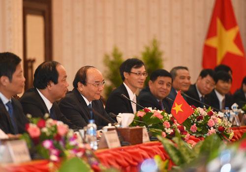 Thủ tướng Nguyễn Xuân Phúc phát biểu tại hội đàm Ảnh: VGP