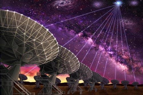 Xung sóng vô tuyến FRB được xác định đến từ một thiên hà lùn cách Trái Đất hơn ba tỉ năm ánh sáng Ảnh: ART SOURCE