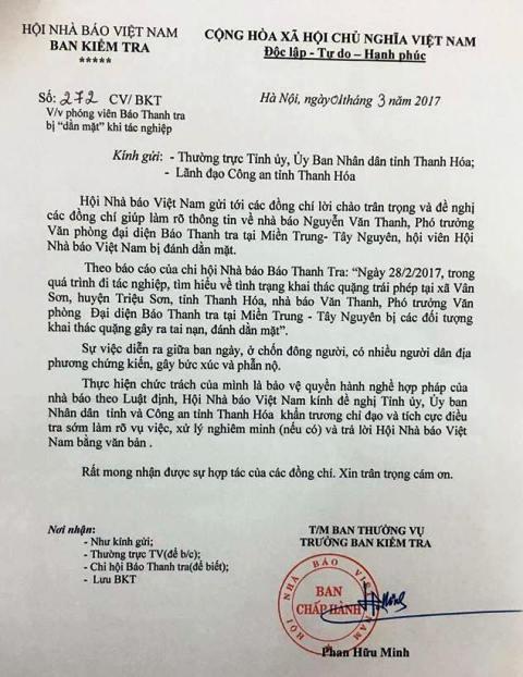 Công văn của Hội Nhà báo Việt Nam gửi Tỉnh ủy, UBND tỉnh Thanh Hóa đề nghị làm rõ thông tin nhà báo đi tác nghiệp bị đánh dằn mặt