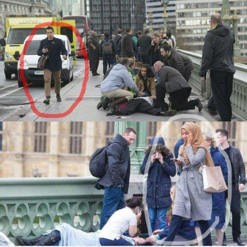 Những hình ảnh chụp người đàn ông da trắng và người phụ nữ trùm khăn trên đầu được cho là thờ ơ trước hoàn cảnh của các nạn nhân trong vụ lao xe ở London. Ảnh: TWITTER