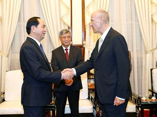 Chủ tịch nước Trần Đại Quang tiếp Tổng Giám đốc Tổ chức Sở hữu trí tuệ thế giới Francis Gurry vào ngày 21-3 Ảnh: TTXVN