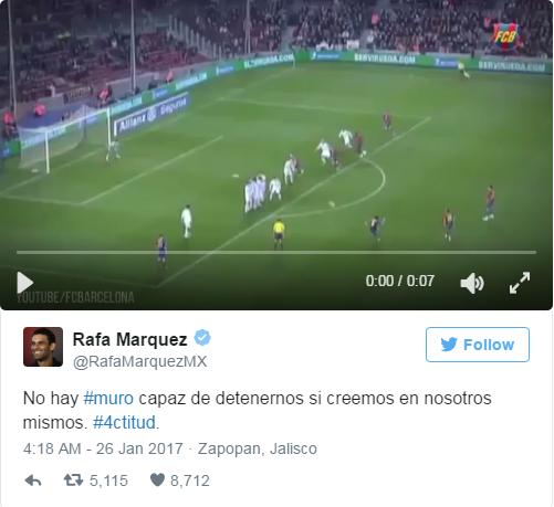Dòng tweet chỉ trích ông Trump của Rafa Marquez. Ảnh: Twitter
