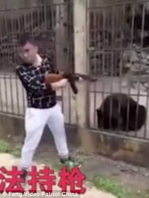 Du khách Trung Quốc giết gấu bằng súng máy - Ảnh 4.