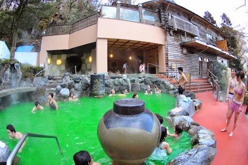 Tắm trà xanh   Du khách cũng có thể lựa chọn hình thức tắm trà xanh. Trà được trồng tại núi Hakone rất giàu chất chống oxy hoá, tốt cho sức khoẻ và bảo vệ làn da. Nước trà luôn được giữ nóng ở 42 độ C. Ảnh: Amusing Planet.