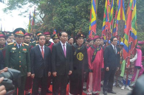 Chủ tịch nước Trần Đại Quang tham dự Lễ Giỗ Tổ Hùng Vương tại Đền Hùng, tỉnh Phú Thọ Ảnh: NGUYỄN HƯỞNG