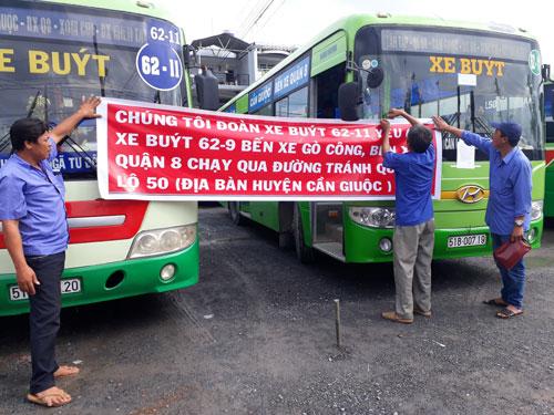 Xe buýt chạy tuyến 62-11 ngừng chạy để phản đối bố trí tuyến buýt mới 62-9
