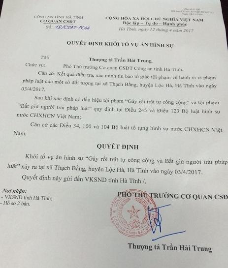 Quyết định khởi tố vụ án của Công an Hà Tĩnh.