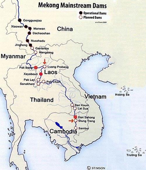 Biểu đồ các dự án thủy điện trên Lancang Mekong (IRN)
