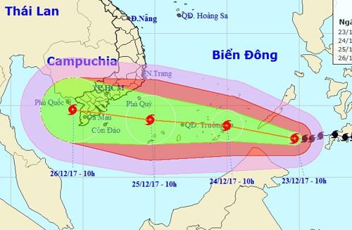 Bão Tembin giật cấp 13 vào Biển Đông, tăng tốc hướng Nam bộ - Ảnh 1.