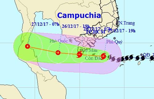 Tâm bão số 16 (bão Tembin) vào vùng biển Trà Vinh-Cà Mau - Ảnh 1.
