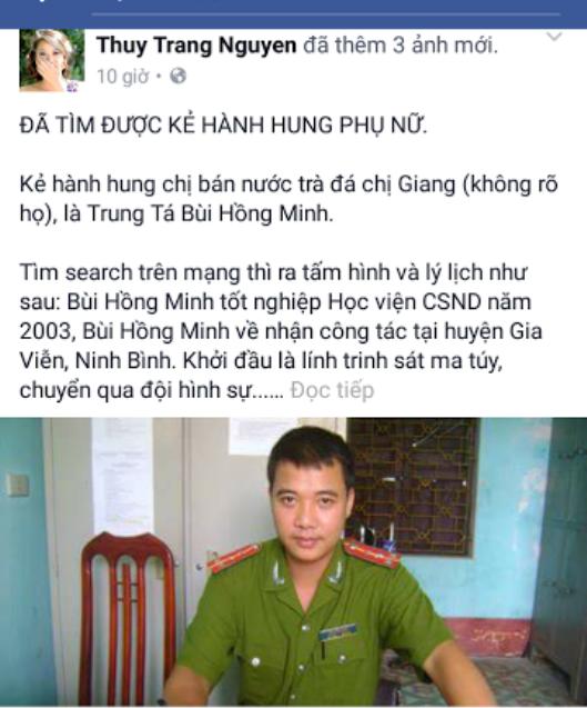 Hình ảnh tung lên mạng xã hội facebook vu khống thiếu tá Bùi Hồng Minh đánh dân