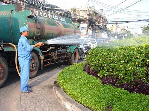 Nhân viên Công ty TNHH MTV Dịch vụ Công ích quận Tân Bình đang chăm sóc cây xanh Ảnh: DVCI TB