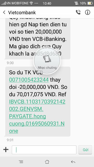 Một trong những tin nhắn lừa, chiếm đoạt tiền trong tài khoản
