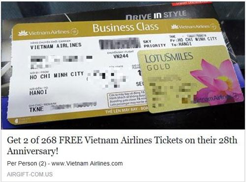 Rộ mánh lừa đảo tặng vé máy bay - Ảnh 1.